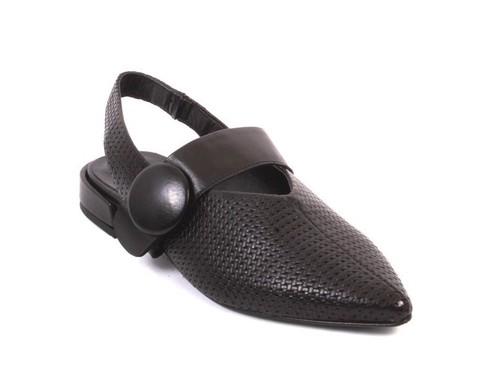 Black Leather Pointy Toe Deep Vamp Slingback Sandals
