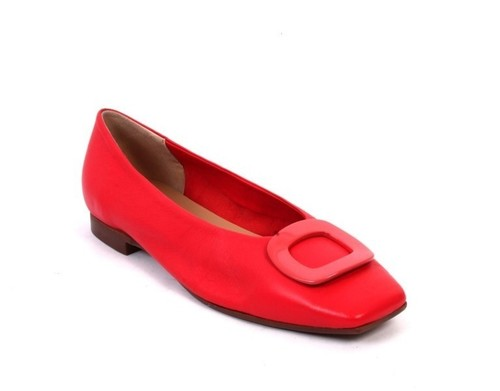 Red Leather / Square Toe / Buckle Ballet Comfort Flats