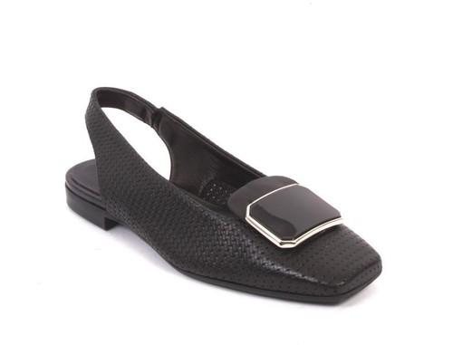 Black Leather Square Toe Slingback Buckle Sandals