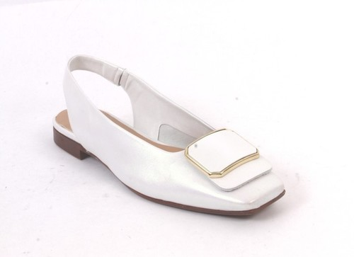 Pearl White Leather Square Toe Slingback Buckle Sandals