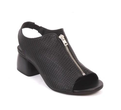 Black Leather Zip Elastic Comfort Summer Heel Booties
