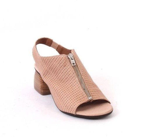 Beige Leather Zip Elastic Comfort Summer Heel Booties