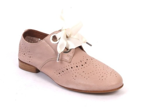 Beige Perforated Leather Round Toe Lace-Up Shoes