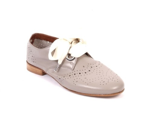 Gray Perforated Leather Round Toe Lace-Up Shoes