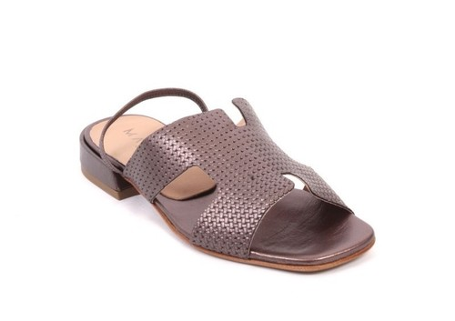Bronze Leather Slingbacks Comfort Sandals