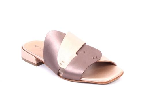 Beige Bronze Leather Slides Heel Comfort Sandals