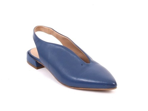 Navy Leather Pointy Toe Slingback Comfort Sandals