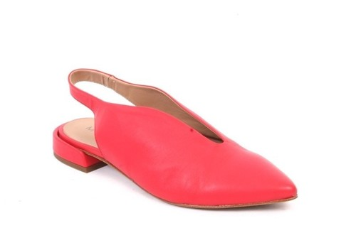 Red Leather Pointy Toe Slingback Comfort Sandals