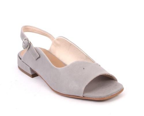 Gray Leather Slingbacks Buckle Comfort Sandals