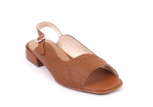Brown Leather Slingbacks Buckle Comfort Sandals