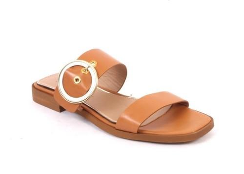 Brown Gold Leather Slides Heel Comfort Buckle Sandals