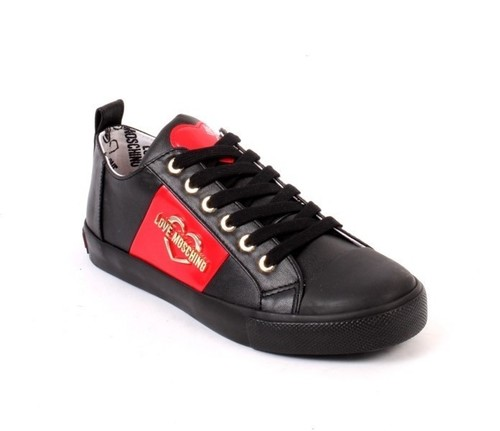 Black Red Leather Logo Lace Platform Sneakers