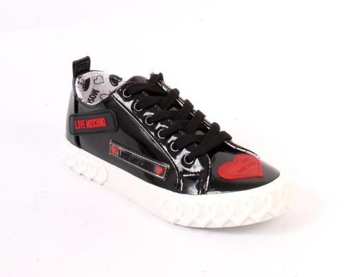 Black Patent Leather Logo Lace Platform Sneakers