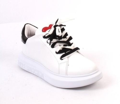 White Black Leather Logo Lace Platform Sneakers