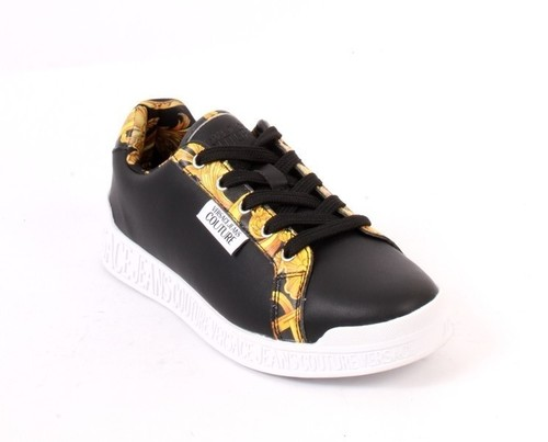 Black Yellow Leather Lace-Up Sneakers