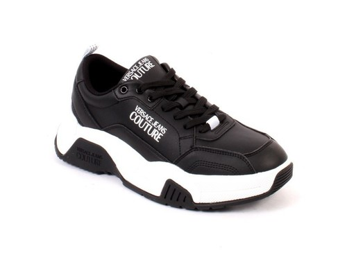 Black White Leather Lace-Up Sneakers