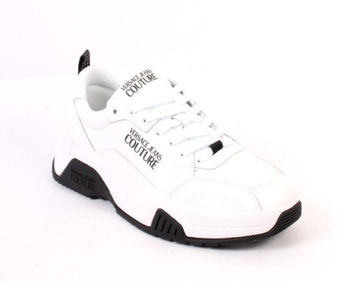 White Black Leather Lace-Up Sneakers