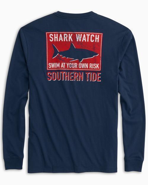 Southern Tide M LS Shark Flag Tee Blue Night