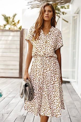 Dotted Cinch Waist Dress White