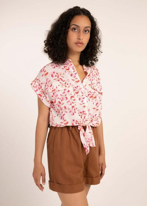 Celene Floral Print Blouse Pink/Red