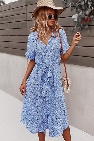 Floral Print Button Front Dress Blue