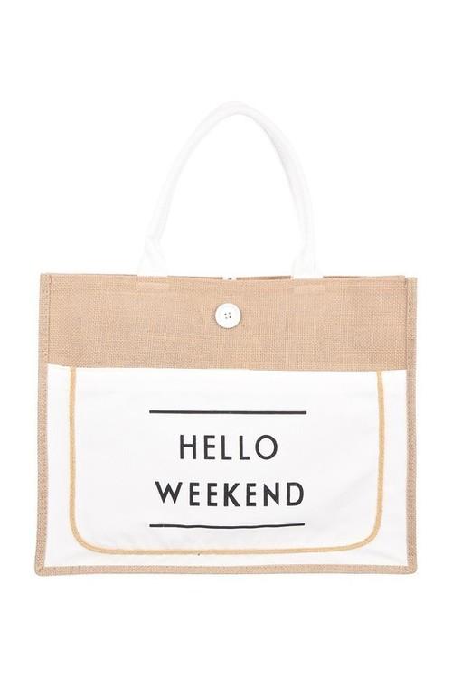Hello Weekend Tote White