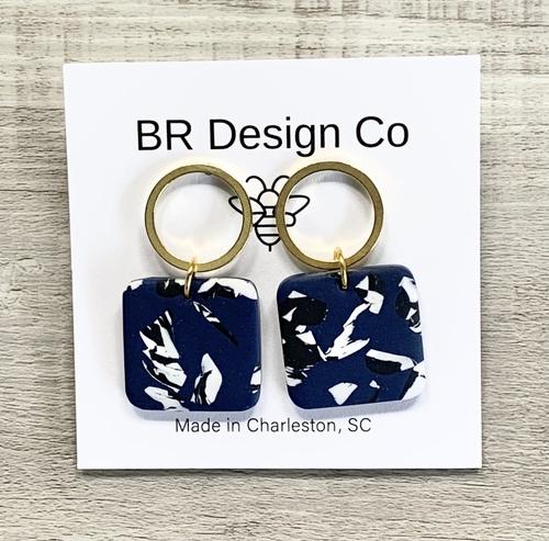Navy Blue Hanover & Brass Earrings