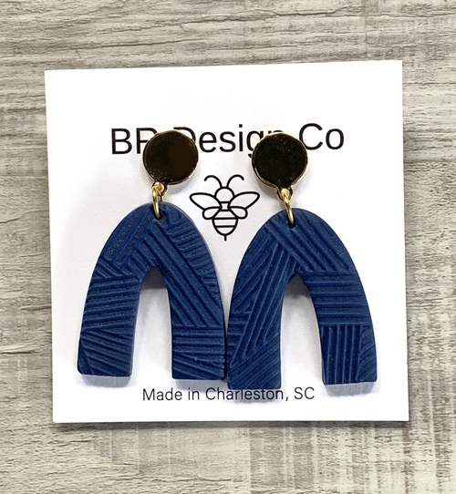 Textured Arches Dark Blue Earrings