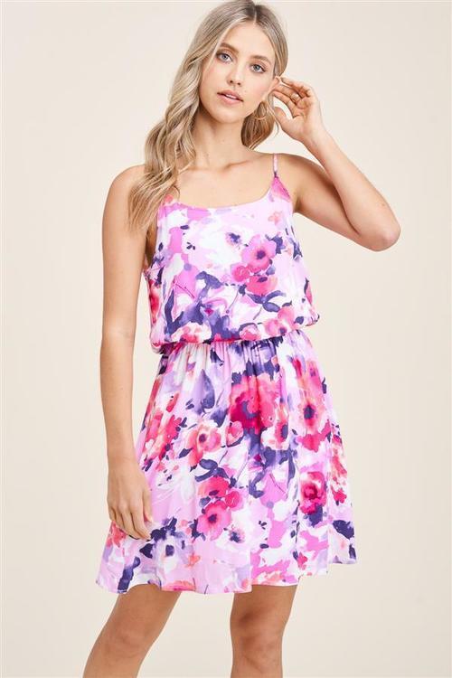 Floral Print Elastic Waist Dress Pink