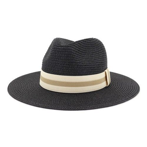 Straw Panama Hat Black