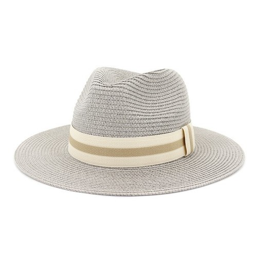 Straw Panama Hat Grey