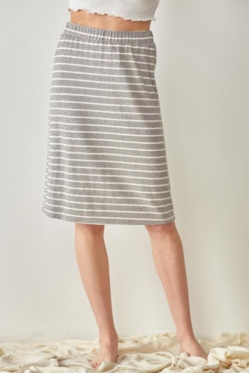 Striped Midi Skirt Heather Grey