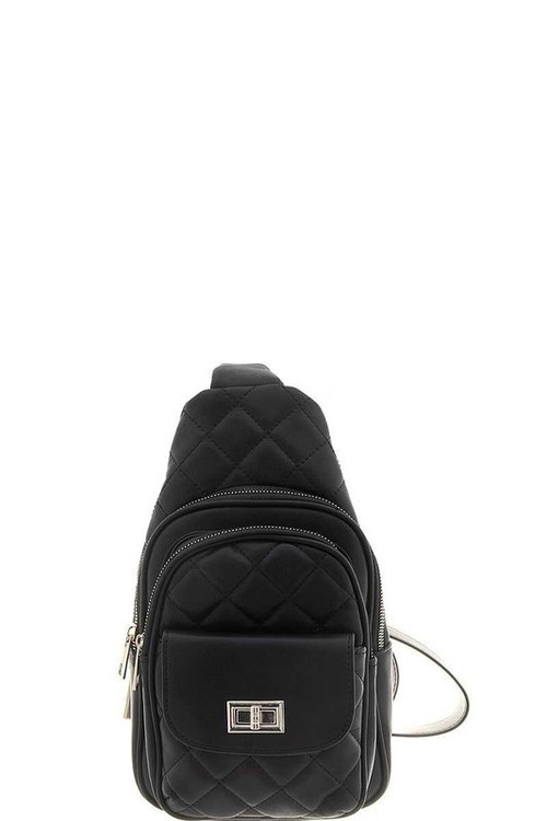 Quilted Zipper Crossbody Bag Black