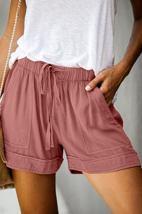 Drawstring Waist Shorts W/ Pockets Pink