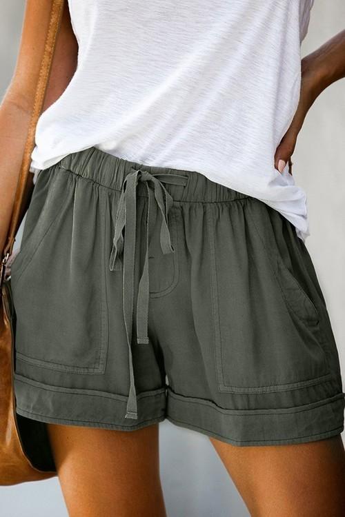 Drawstring Waist Shorts W/ Pockets Green