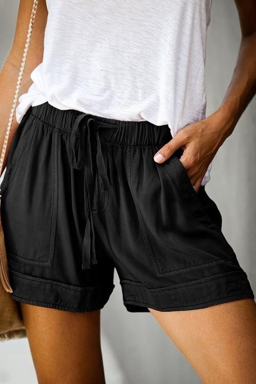 Drawstring Waist Shorts W/ Pockets Black