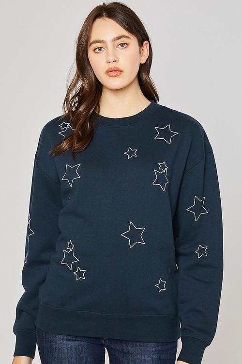 Fleece Sweatshirt W/ Star Embroidery Navy