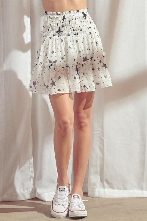 Star Print Skirt White/Black