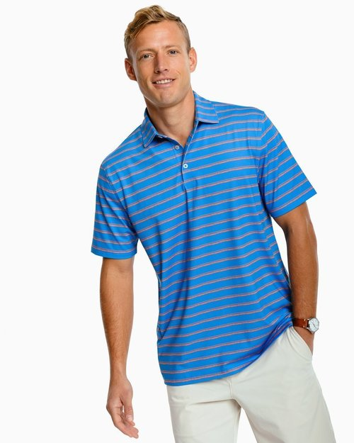 Southern Tide Blue Stream Driver Distressed Perf Polo