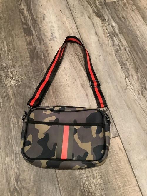 Camo Red Stripe Crossbody Bag Green