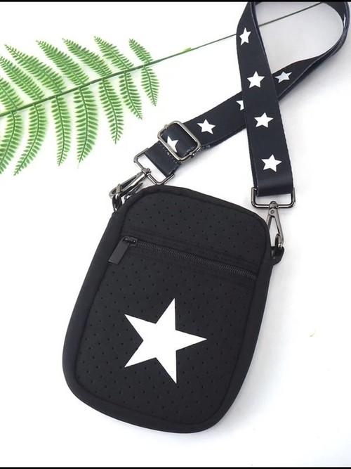 Star Zipper Phone Holder Black/White