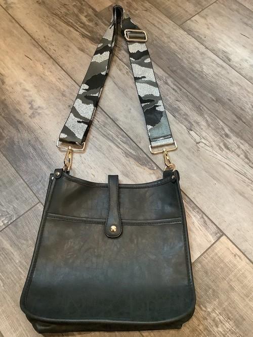 Vintage Leather Messenger Bag Black