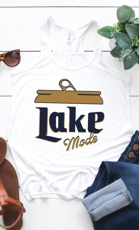 Lake Mode Beer Graphic Tank White