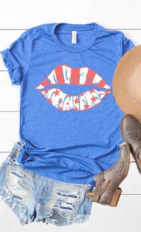 Stars & Stripes Lips Graphic Tee Royal Blue