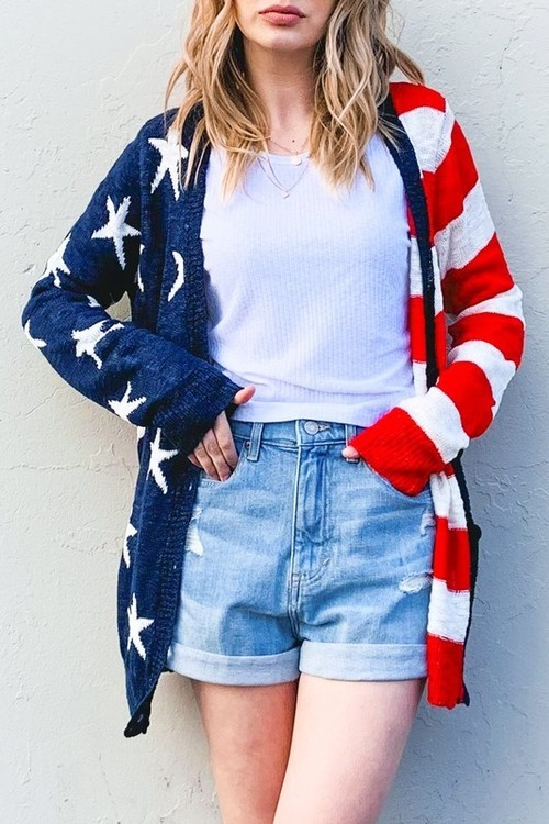 American Flag Button Front Cardigan Red/Navy