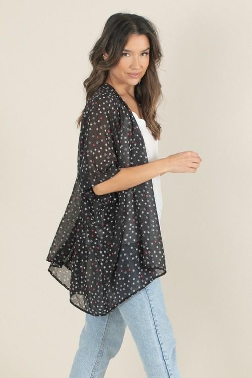 Star Print Kimono Multi O/S