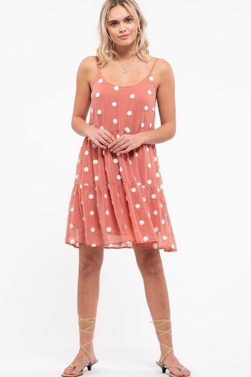 Sleeveless Lined Polka Dot Dress Dusty Apricot