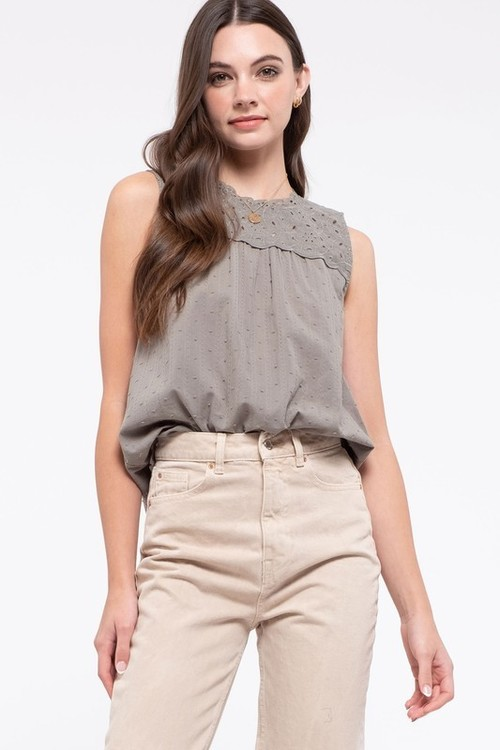 Front Lace Sleeveless Top Olive