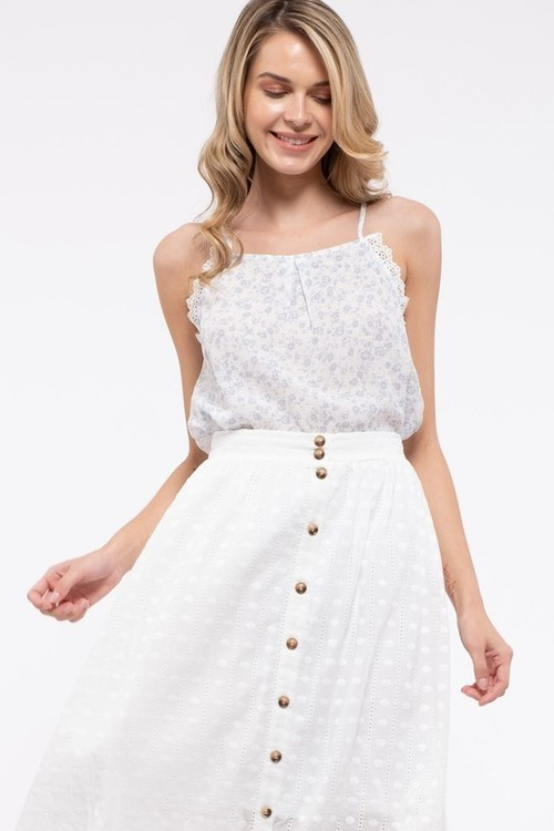 Floral Print Lace Sleeveless Top Ivory