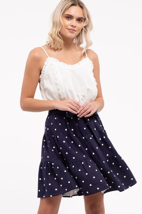 Swiss Dot Ruffle Trim Dress W/Belt Navy